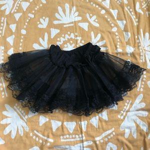 Black lace petticoat ruffle under skirt One Size